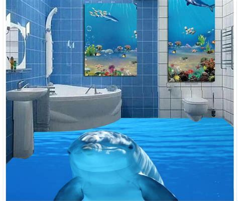 Dolphin marine sea water 3d tiles floor painting wallpaper