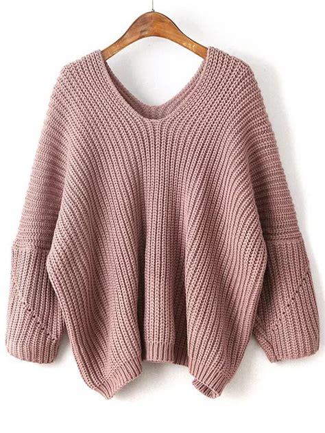 oversized pink sweater pink v neck drop shoulder oversized sweaterfor romwe