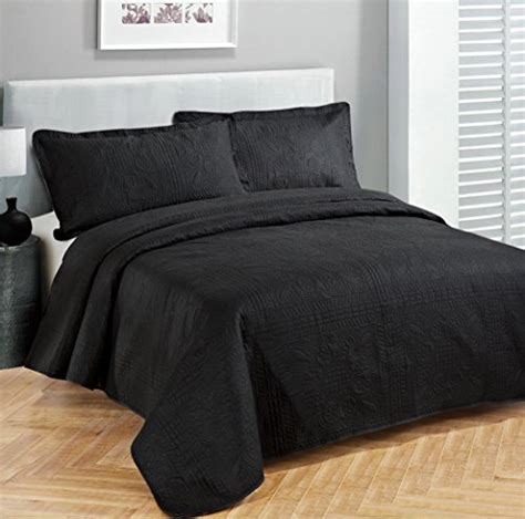 Black Coverlet by Fancy Collection 3pc Luxury Bedspread Coverlet Embossed