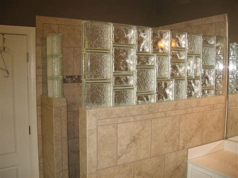 glass block tile shower wall glass block