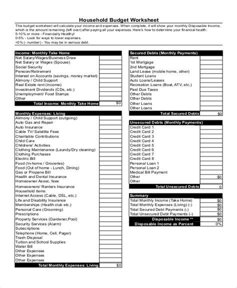 sample home budget worksheet templates
