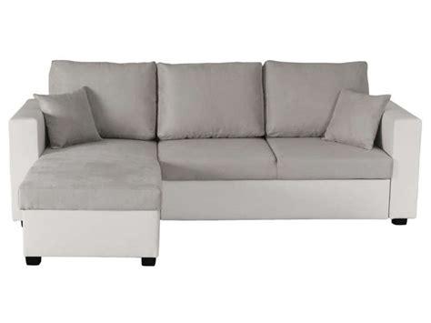 canap 233 d angle convertible et r 233 versible 5 places glenn coloris gris blanc en pu tissu vente
