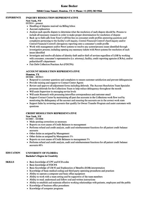 Claims Representative Questions by Resolution Representative Resume Sles Velvet