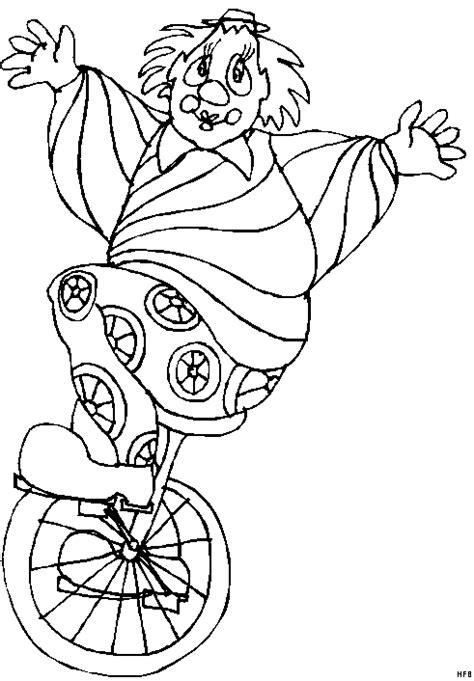 clown auf einrad ausmalbild malvorlage comics