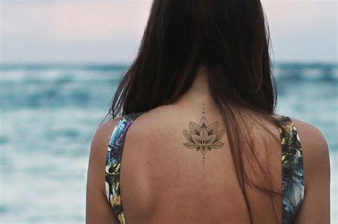 Lotus Tattoo / Mandala Fake Tattoo / Boho Vintage Flower Tattoo / Girly Tattoo