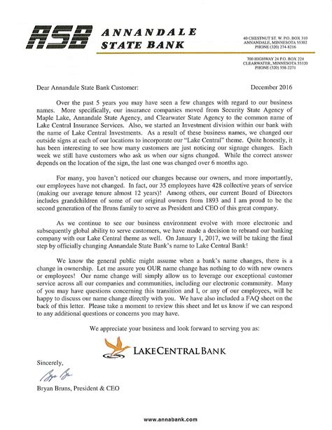 Sample letter informing customers of change in bank account / if you change your company name, you must update the name on your business bank account as soon as possible. Name Change Letter-page-001 | Lake Central Bank