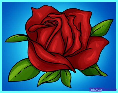 How To Draw A Cartoon Rose Step By Step Flowers Pop