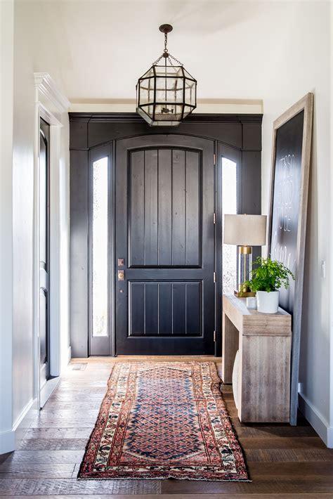 Interior Door Rugs by Entryway With Black Front Door And A Kilim Rug Interiors