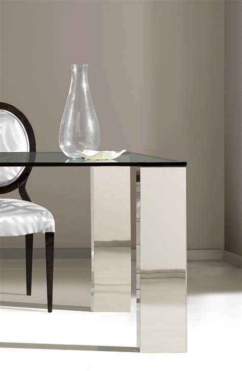 dining table stainless steel inox  glass