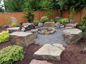 Landscape, Backyard, Fire, Pit, Landscaping, Ideas, Outdoor, For, Rock