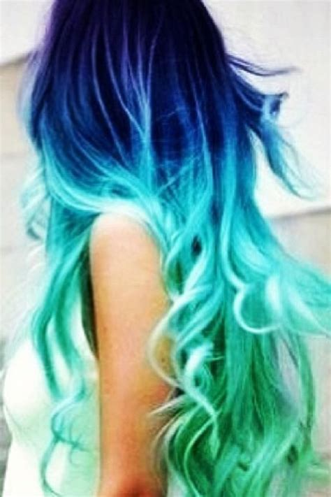 bad dyed hair blue ombre mermaid hair