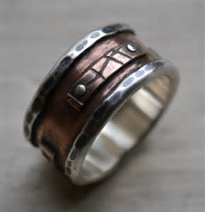 rustic wedding bands mens wide band ring rustic silver and copper oxidized