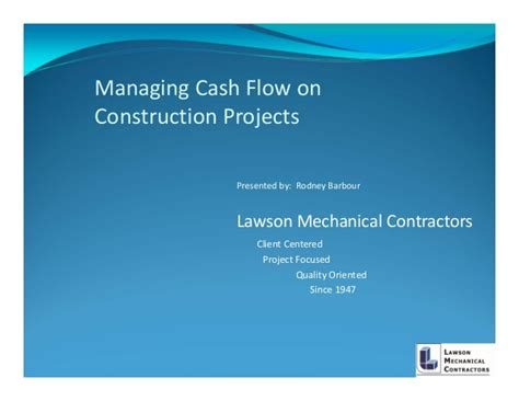 managing cash flows  construction projects