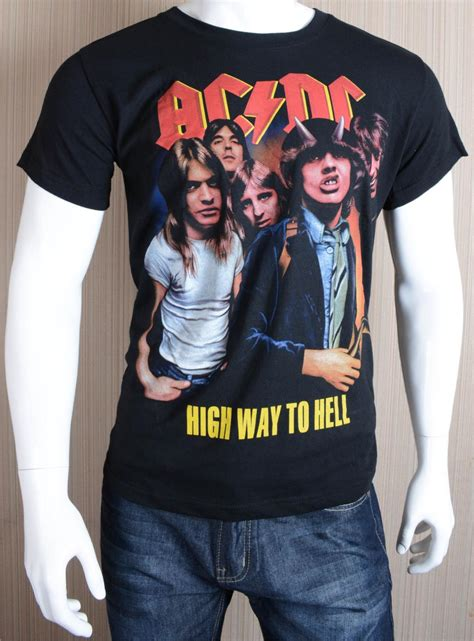 adolescents rock band t shirt acdc t shirt youth black trend rock band t shirt