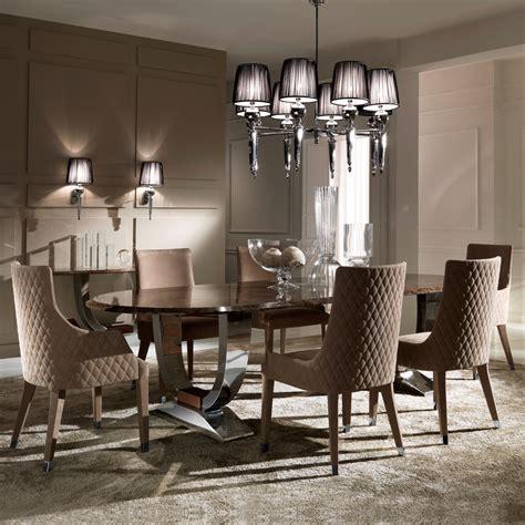 oval high  marble italian dining table set