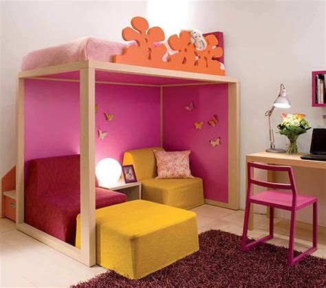 nice kids bedroom decor  wooden loft bed red fur rug