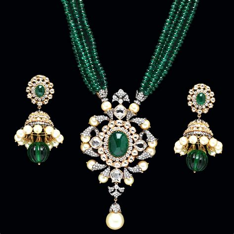emerald 3 set indian jewellery and clothing emerald pendant sets from