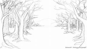 Drawn scenery forest - Pencil and in color drawn scenery ...
