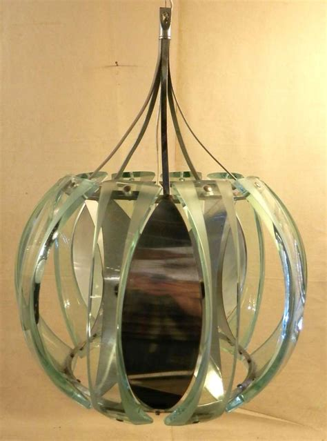 unique chrome and glass paneled pendant light at 1stdibs