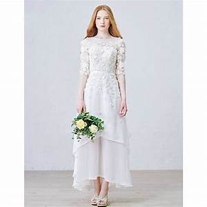a line ankle length wedding dress jewel chiffoncheap uk With ankle length wedding dress