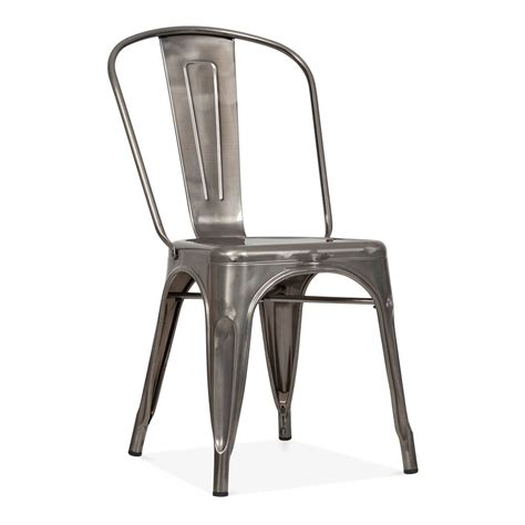 chaise industriel tolix style gunmetal steel industrial side chair cult