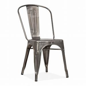 Tolix Style Gunmetal Steel Industrial Side Chair Cult