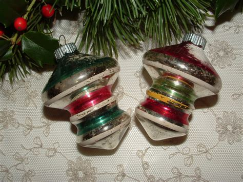 2 vintage mercury glass christmas ornaments by krissykringles
