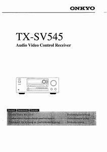Onkyo Tx-sv545 Owner U0026 39 S Manual