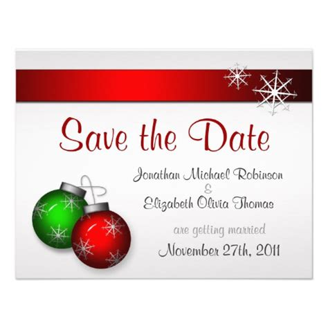 christmas ornaments wedding save the date 4 25x5 5 paper