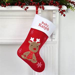 Personalised, Christmas, Stocking, With, Baby, Reindeer, By, D, Caro