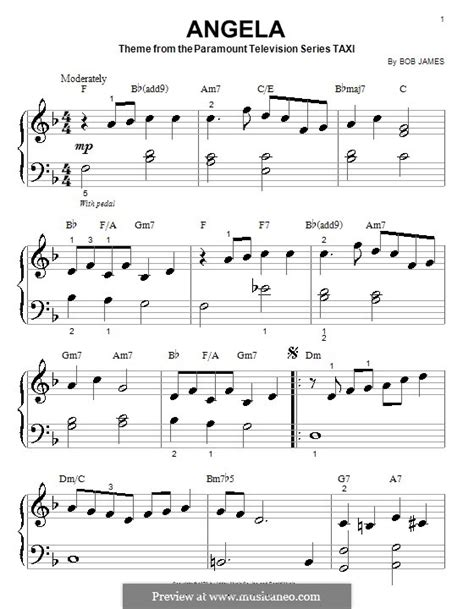Perfekter notensatz mit extrem intuitiver encore notation software write, play and print music arrange, transpose your midifiles and create perfect scores and sheet music for your students. Angela (theme from Taxi) by B. James - sheet music on MusicaNeo