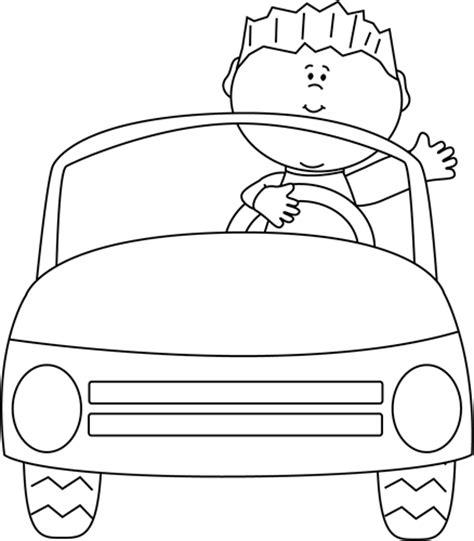 black  white boy driving  car clip art black  white boy driving  car image