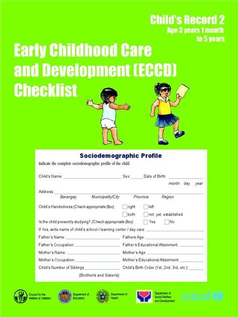 eccd checklist child  record  early childhood shape