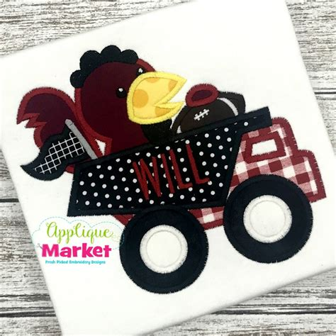 applique market dump truck rooster