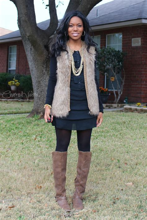 Fur Vest With A Dress Outfit In 2019 Fur Vest