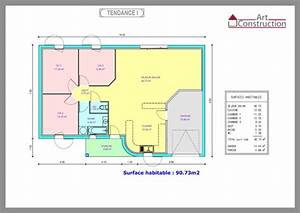 plan maison 3 chambres plain pied garage With plan de maison plain pied gratuit 3 chambres sans garage