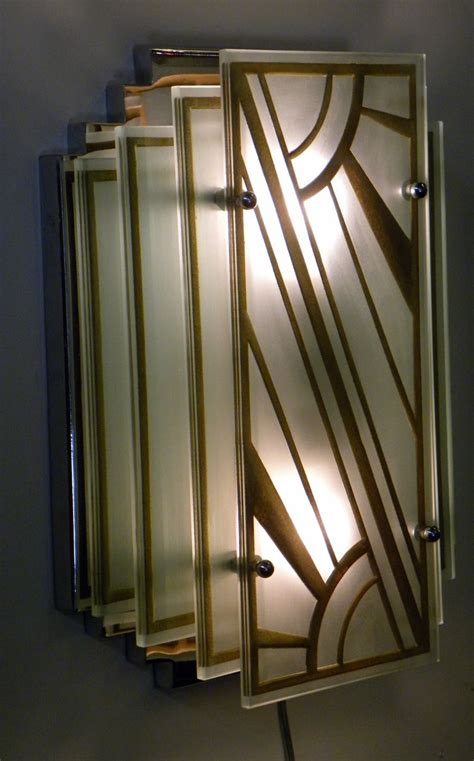 custom etched glass gold stepped modernist art deco light
