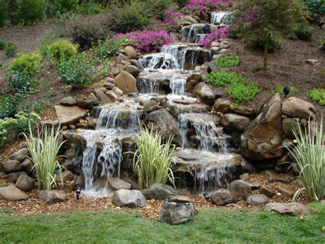 backyard waterfall pictures pondless waterfalls a unique element to any backyard get a way gathering place landscaping my