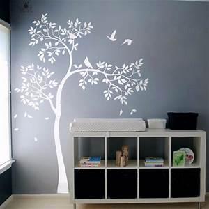 Huge white tree wall decal vinyl sticker birds baby