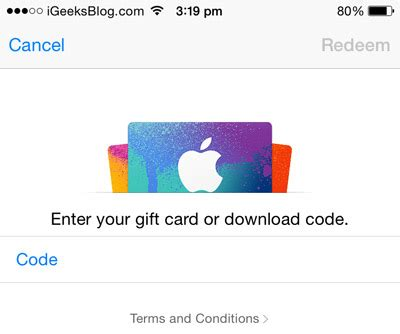 how to load itunes gift card on iphone how to redeem itunes gift card in ios 9 on iphone