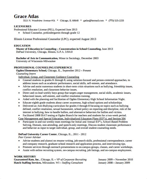 school guidance counselor resume exle sle guidance counselor resume 8 free documents in word pdf
