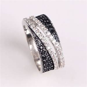 2017 women black zirconia wedding ring platinum plated for Wedding rings for women 2017