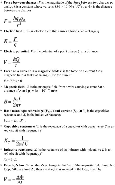 Physics Equations For Electricity Magnetism Dummies