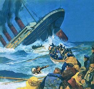 Sinking Of The Titanic Painting By English School