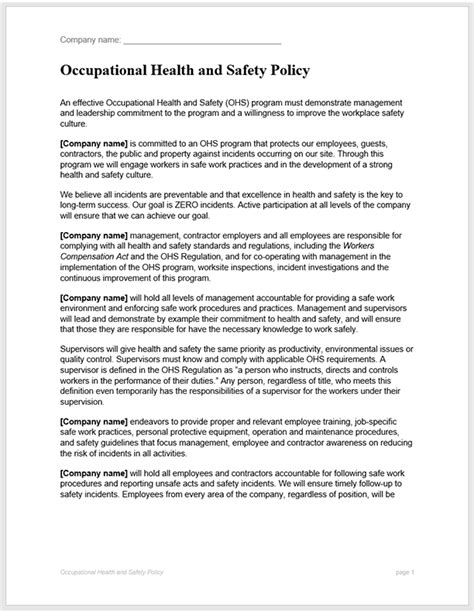 health  safety policy template bc industry health