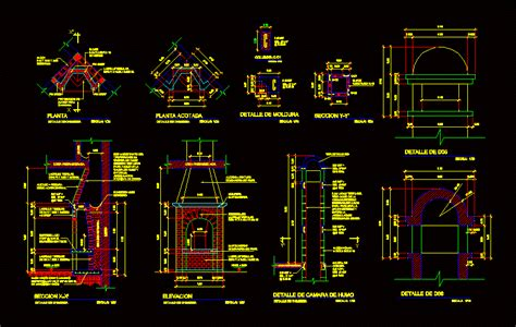 detail  fireplace dwg section  autocad designs cad
