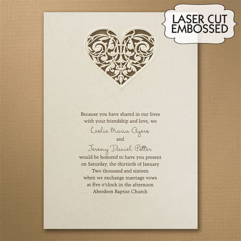 wedding invitations with hearts laser cut wedding invitations little flamingo