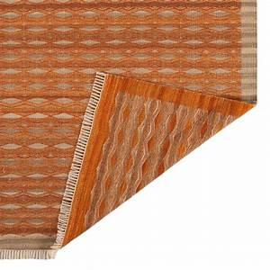 tapis contemporain kilim orange et beige en laine et jute With tapis kilim avec canape dossier basculant