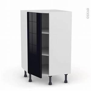 Meuble De Cuisine Noir : meuble de cuisine angle bas keria noir 1 porte n 23 l40 cm l65 x h92 x p37cm oskab ~ Teatrodelosmanantiales.com Idées de Décoration