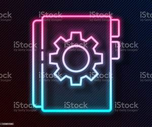Glowing Neon Line User Manual Icon Isolated On Black